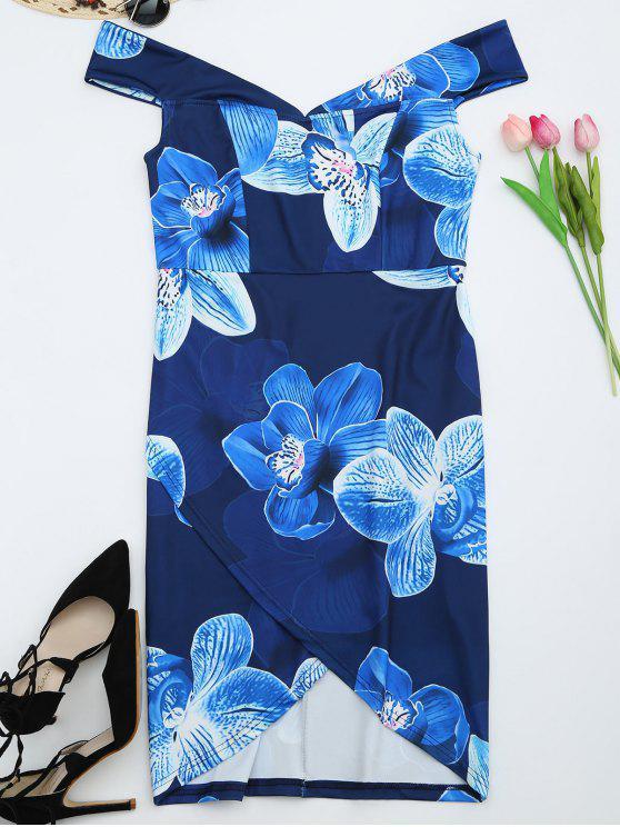 Robe ajustée imprimée florale à épaules dénudées - Bleu Foncé L