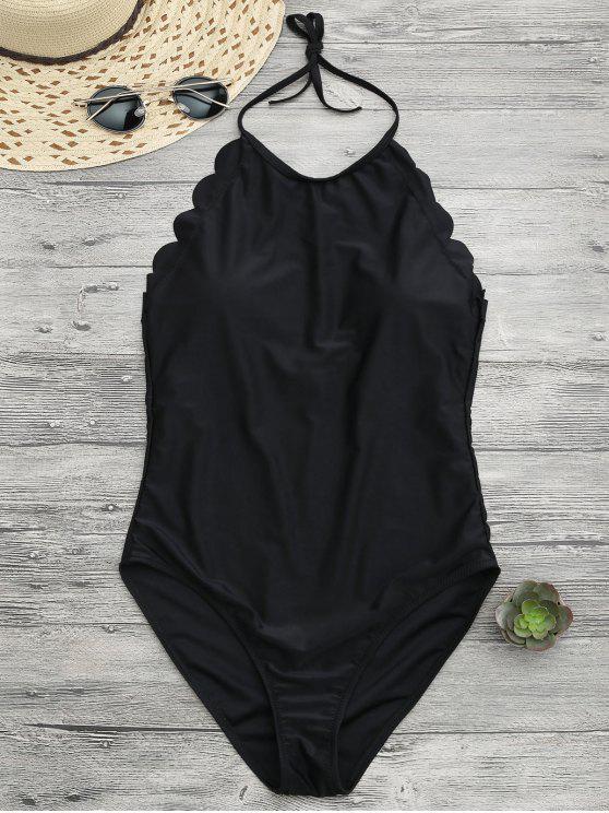 ملابس السباحة مع الياقة العالية بنمط الصدف - أسود S