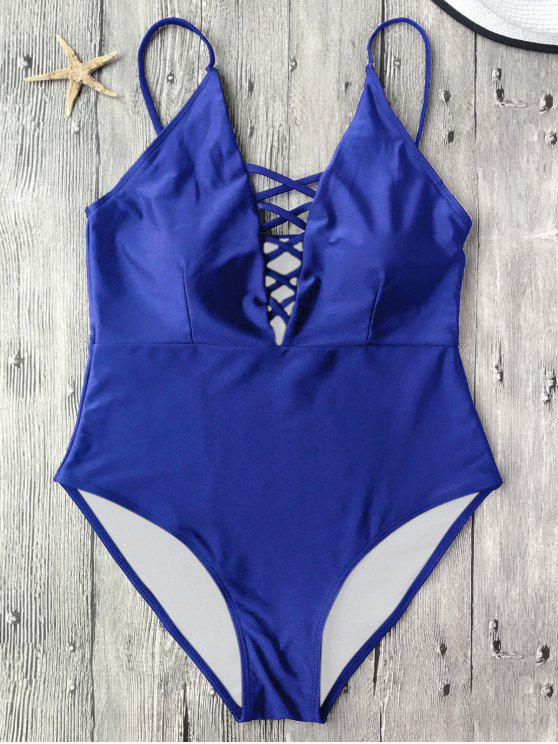 trendy Strappy Lace-Up One-Piece Swimwear - BLUE L