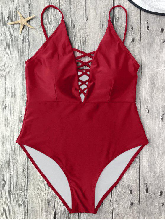 sale Strappy Lace-Up One-Piece Swimwear - RED M