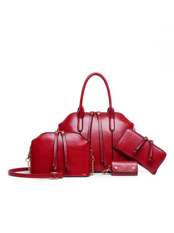 fashion Zips Solid Color PU Leather Tote Bag - WINE RED