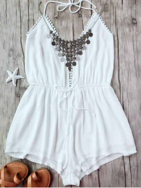 online Plunge Halter Beach Cover Up Romper - WHITE S