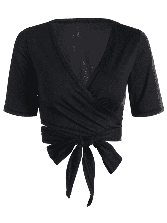 buy Cropped Plunging Neck Sporty Wrap Top - BLACK S