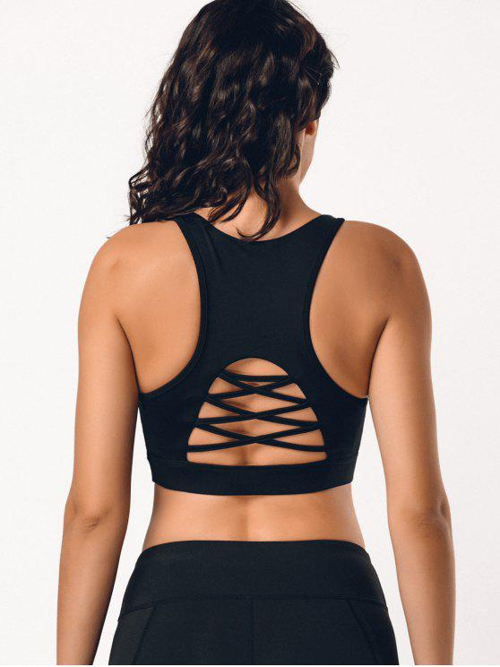 fancy Back Strappy Cutout Mesh Panel Sporty Bra - BLACK S