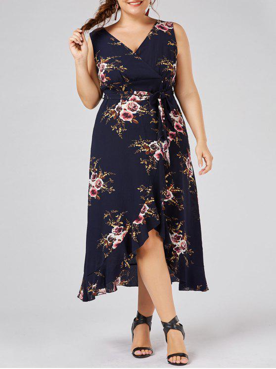 فستان الشاطئ الحجم الكبير طباعة الازهار المصغرة كشكش متدفق - الأرجواني الأزرق 3XL