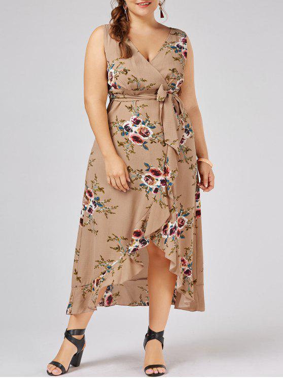 best Plus Size Tiny Floral Overlap Flounced Flowy Beach Dress - APRICOT 2XL