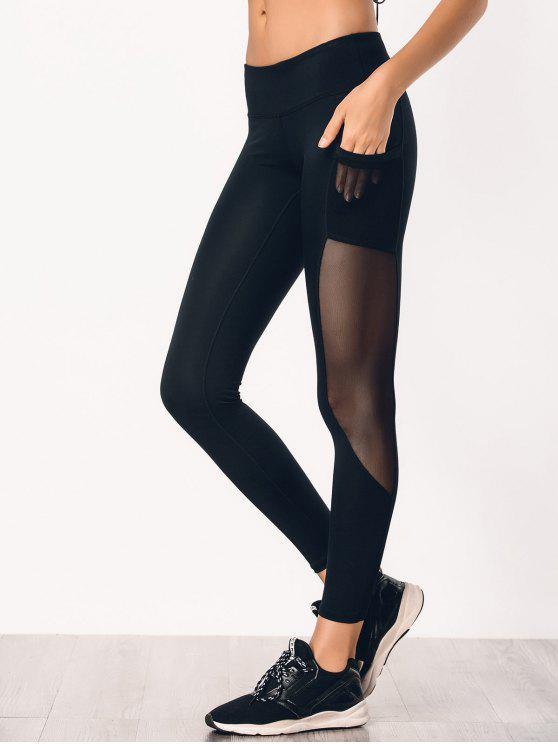 best See Through Pocket Mesh Panel Activewear Leggings - BLACK M