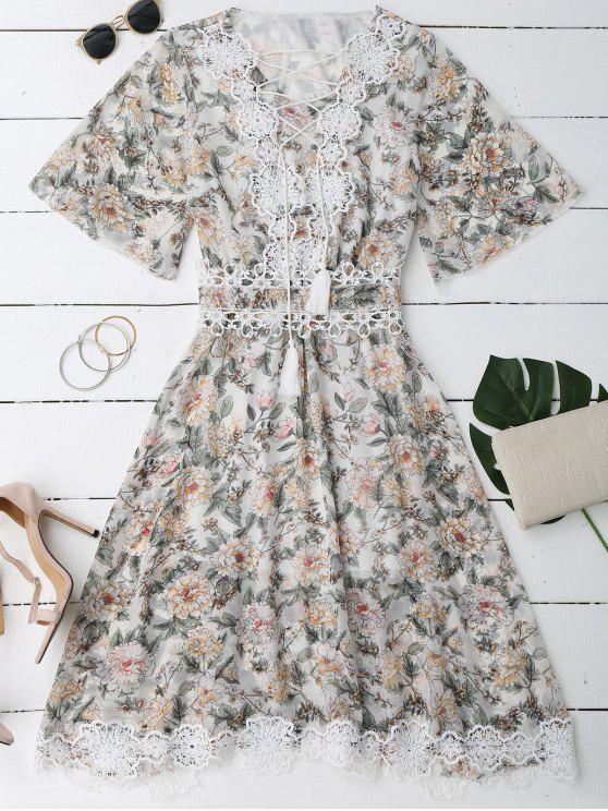 Robe Florale avec Laçages en Dentelle à Col Plongeant - Blanc XL