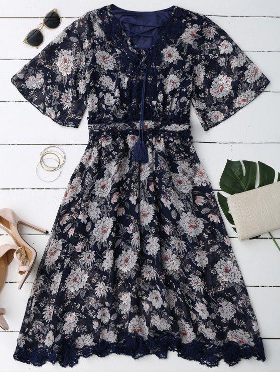 Robe Florale avec Laçages en Dentelle à Col Plongeant - Bleu Cadette L