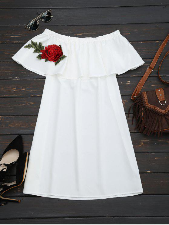 latest Floral Patched Flounce Shift Dress - WHITE ONE SIZE