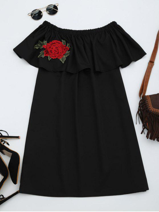 fashion Floral Patched Flounce Shift Dress - BLACK ONE SIZE