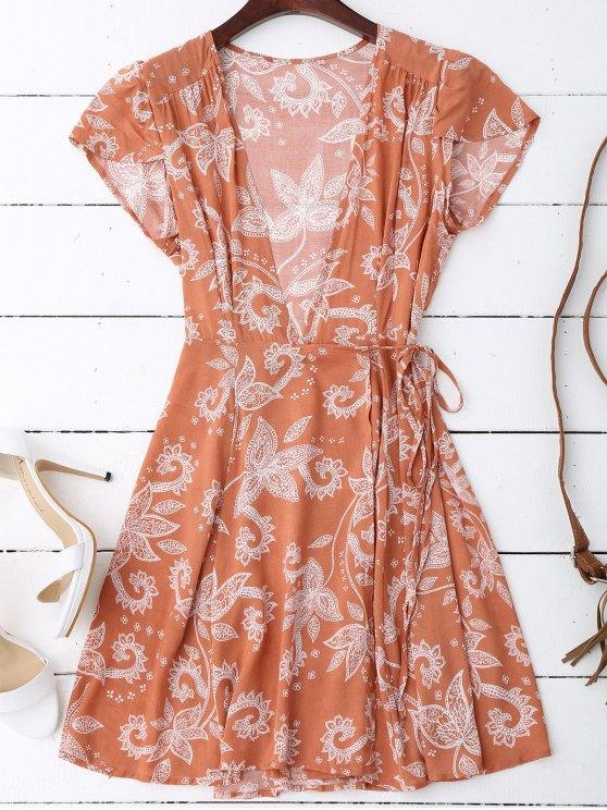 فستان كاب الأكمام لف مرسوم مصغر - الأزهار XL