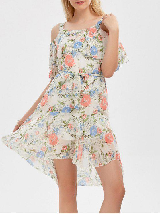 فستان باردة الكتف كشكش طباعة الأزهار - أبيض فاتح XL