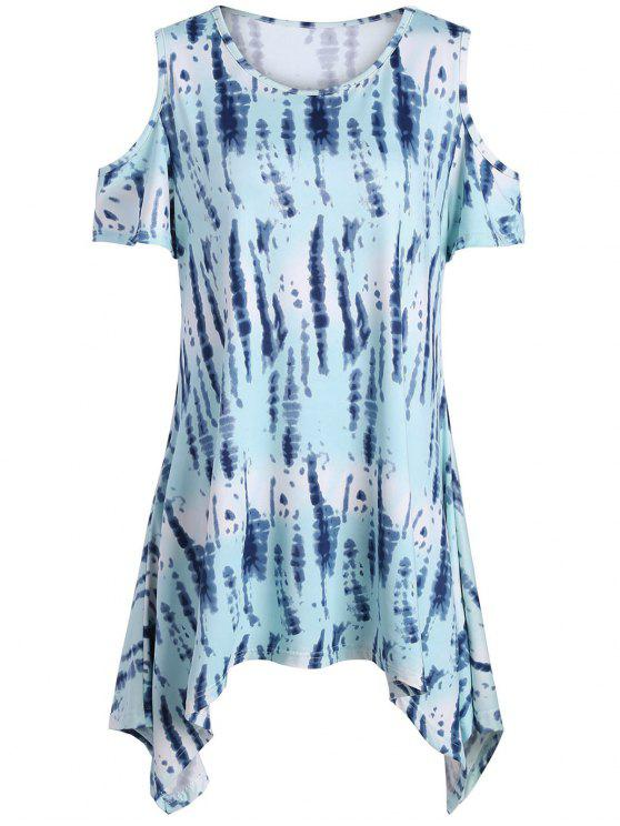fe84090131e2fc 2018 Tie Dye Cold Shoulder Plus Size Tunic Top In LIGHT BLUE 3XL