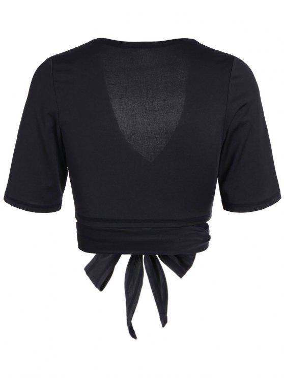 sale Cropped Plunging Neck Sporty Wrap Top - BLACK L