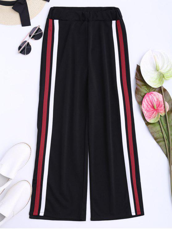 outfits Side Tape Cropped Wide Leg Pants - BLACK ONE SIZE