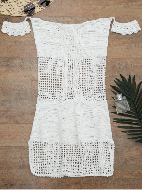womens Open Knit Off Shoulder Cover Up Dress - WHITE ONE SIZE
