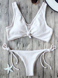 Ribbed Knotted String Bralette Bikini - White M
