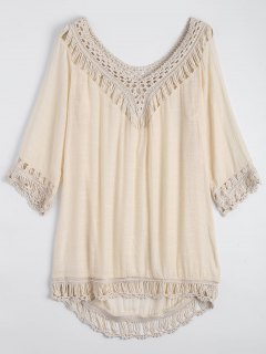 Relaxed Fit Beach Tunic Cover Up Dress - Apricot