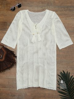 Side Split Open Knit Beach Cover Up Dress - Off-white
