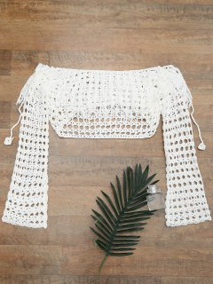Crochet Off The Shoulder Cover Up Top - White