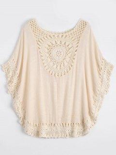 Crochet Insert Beach Poncho Cover Up - Off-white