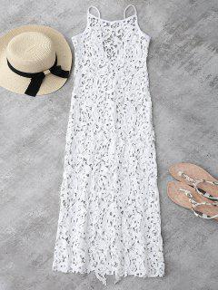 Sheer Crochet Lace Midi Slip Kleid - Weiß Xl