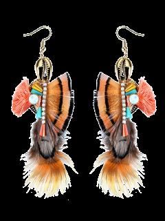 Rhinestone Tassel Feather Hook Earrings - Coffee
