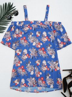 Blumenkalter Schulter Shift Minikleid - Blumen S