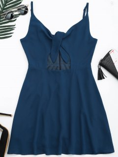 Cut Out Bowknot Slip Dressress - Cadetblue M