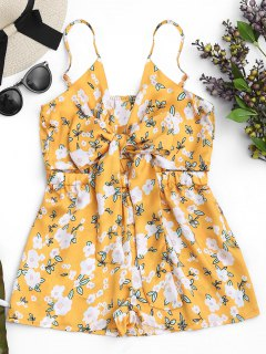 Tiny Floral Bowknot Cutout Cami Romper - Yellow M