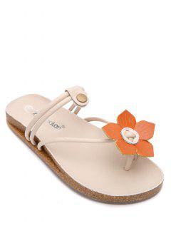 Faux Leather Flat Heel Flower Slippers - Yellow 38