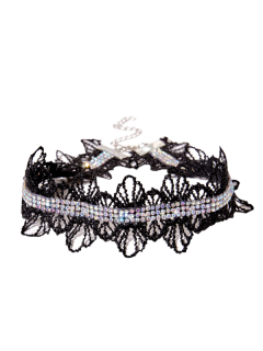 Collier Garniture En Strass En Dentelle Crochet - Noir