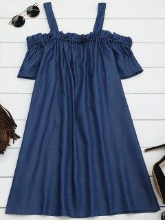 Ruffles Casual Cold Shoulder Mini Dress - Denim Blue S