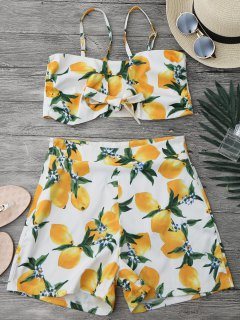 Lemon Knotted Crop Top And Shorts Set - White L