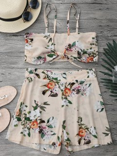 Knotted Crop Top And High Waisted Shorts Set - Floral S