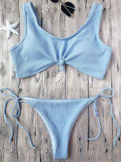 Ribbed Knotted String Bralette Bikini - Light Blue S