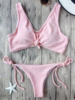 Bikini Brassière Plissé Avec Nœud Et Ficelle - Rose PÂle S