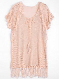 Relaxed Sheer Beach Tunic Cover Up Dress - Pink