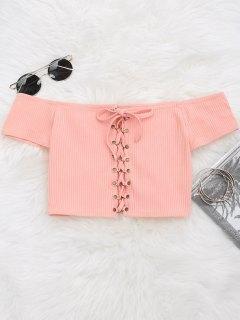 Cuello Alto Con Cordones - Rosa L