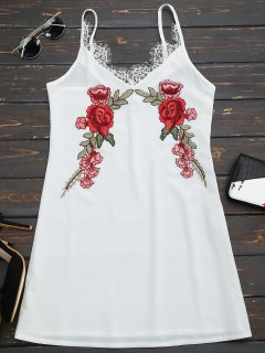 Lace Insert Floral Embroidered Slip Dress - White Xl
