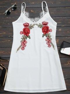 Vestido De Encaje Floral Bordado De Encaje - Blanco M