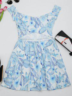 Floral Print Cut Out Flare Dress - White M