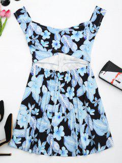 Floral Print Cut Out Flare Dress - Black L