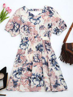 Puff Sleeve Floral Print Cut Out Dress - Pink L