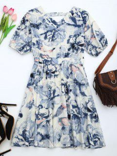 Puff Sleeve Floral Print Cut Out Dress - Blue S