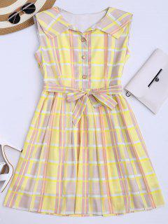 Plaid Flared Shirt Dress With Belt - Yellow S