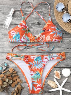 Tropischer Druck Strappy Bikini Top Und Bottoms - Orange  S