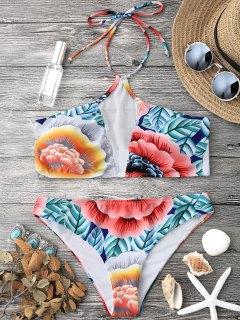 Floral Mesh Padded Halter Bikini Set - Floral M