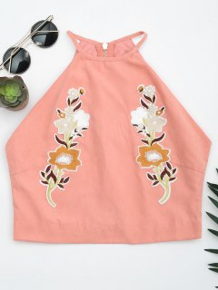 Floral Embroidered Faux Suede Tank Top - Pink M